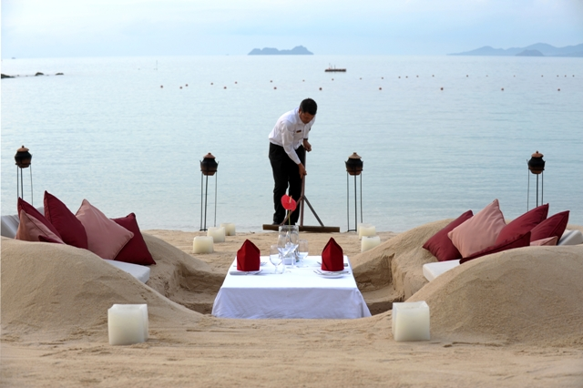 The restaurant that gets rebuilt at every tide zara stone for Table 99 koh samui