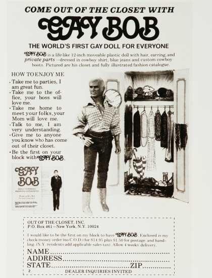 Gay Bob Doll in 1970- A rather racy toy! Read more… Tags: Vintage Adverts