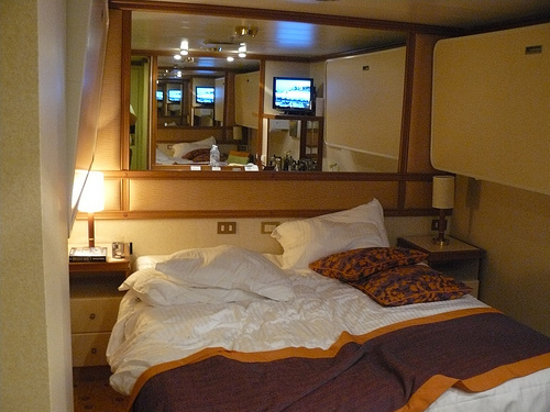 View of messy inside stateroom cabin